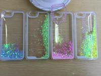 Quicksand líquido duro dinámico caso flotante brillo Corazón Corriente clara transparente brillante cubierta para iphone4 / 4s / 5 / 5s / 6 iphone 6 plus
