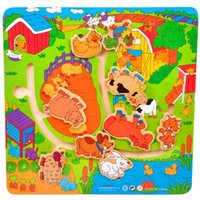 baby grabs - Children Baby D Puzzle Farm Animal Maze Child Wooden Toys Maze farm Grab educational toys maze game Home Early Education