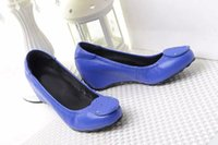 Wholesale High Quality Brand Genuine Leather Wedge High Heel Dress Pumps Wedges Lady Women Shoes Sz
