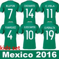 baby soccer jerseys - 2016 Mexico Kids Soccer Jerseys Children youth boys Uniform blue Mexico Kids G Dos Santos Baby CHICHARITO mexico kids football shirt