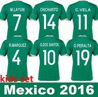 baby football uniform - 2016 Mexico Kids Soccer Jerseys Children youth boys Uniform blue Mexico Kids G Dos Santos Baby CHICHARITO mexico kids football shirt