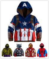 Wholesale 2016 New Coats The Avengers Kids Cosplay Clothing Iron Man Hulk Captain America Boys Clothes Super Heroes Children s Hoodies Outwear