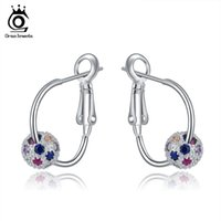 Wholesale ORSA New Arrival Silver Hoop Earring with a Colorful Zircon Crystal Bead Silver Jewelry OE108