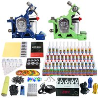 Wholesale solong tattoo New Pro Machine Guns Tattoo Kit Inks Power Supply Needle Grips Kits TK244