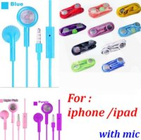 Wholesale 200pcs COLOR mm Stereo in ear Earphone Headset With Mic for iPhone s plus S C S Headphone Earbuds For ipad