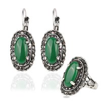 antique bridal sets - Hot Sale Vintage Antique Silver Plated Green Resin Crystal Ring Earrings Bridal African Costume Jewelry Sets for Women