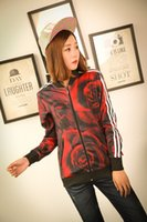 Cheap new women's loose-fitting sports women jacket Printed Brand spring autumn colorful red rose Jacket Coat Overcoat Outwear