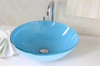 Wholesale Bathroom Glass Basin bathroom furniture Tempered Glass Vessel Sink With Faucet Set N