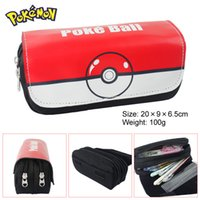 Wholesale Poke Mon Go Pokeball Pencil Case Pen Bag Pocket Double deck Large Capacity PU Zipper Multifunction Wallet Purse For Students Desktop