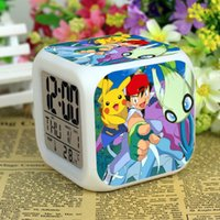 Wholesale 3D cartoon Poke Pikachu Digimon LED Colorful Changed Digital desk table alarm Clock Night Light For Kids Birthday Christmas Gifts LC408