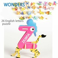 Cartoon abc papers - set New style kids toys cute animal shaped d puzzle ABC English letters puzzle kids educational toys for children
