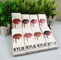 Wholesale 24pcs set Kylie Lip gloss Kit set kylie jenner liquid Lipstick matte cosmetics with lip gloss lip liner eyeliner new colors