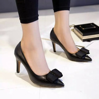 Wholesale size genuine leather pointed toe colors office lady high heel shoes with bowtie women sweet shoes