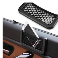 Wholesale Unusual Universal Car Seat Side Back Storage Net Bag Phone Holder Pocket Organizer Black adhesive visor box auto accessories