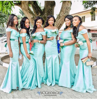 Cheap 2016 Blue Christmas Bridesmaid Dresses Ruched Ruffles Mermaid Off the Shoulder Sash Floor Length Satin Long Maid Of Honor Dresses Dhyz 01