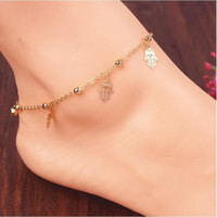 ball anklets - anklets Women New Fashion Gold Silver Plated Anklets Persoanlity Hollow Out Hand and Balls Tassel Alloy Chain Anklets Drop Shipping BR243