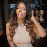 reine cheveux produits perruques achat en gros de-Peruvian Loose Wave Ombre Lace Wig Full Lace Perruques Cheveux Humains Weave Hair Wig # 1b / # 30 Three Tone Color Queen Hair Products