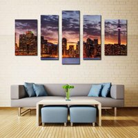 Wholesale 5 Picture Combination Wall Art Painting Night Scene Pictures Prints On Canvas City Decor Oil For Home Modern Decoration Print