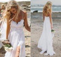 beach fancy dress - Only Cheap Sexy Fancy Beach Bohemian Wedding Dresses Spaghetti Backless White Ivory Lace Split Bridal Gowns vestidos de novia CPS071
