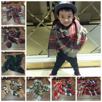 baby pashmina - Kids Plaid Scarf Child s Tartan Scarf Christmas Scarf Fashion Tassels Neckerchief Children s Scarves Baby Scarf Shawl Kids Plaid Blanket E22