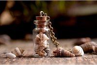 beach glass pendant - 10pcs bronze tone Tiny shell necklace glass bottle charm pendants necklace Beach jewelry
