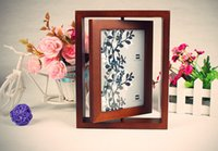 Cheap European high-grade rotary catalpa wood frame double-sided wood-sided picture frame 6 inch photo frame