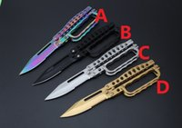 bag nylon material - Mini benchmade C29 Tactical olding knife pocket knife golden color rainbow color steel material nylon bag EDC Tools