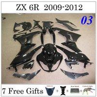 Wholesale Glossy Black For KAWASAKI ZX6R Racing Bodywork Set Ninja Motorcycle Fairing Kit Cowling