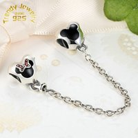 Wholesale High Quality New S925 Sterling Silver Mickey and Minnie Mouse Safety Chain Charm Fits European Jewelry Bracelets Necklaces