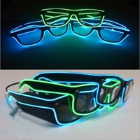 Wholesale hot sale el glasses El Wire Fashion Neon LED Light Glow Sun Glasses Rave Costume Party DJ Bright SunGlasses Party Decoration