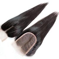 al por mayor cierres humanos dhl-8A rápido de envío libre 8-20inch del color natural del encierro del cordón del pelo humano de la Virgen mongol india brasileña brasileña de seda recto sedoso por DHL