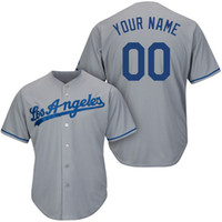 american unisex names - Cheap Baseball Jerseys Custom Made Dodgers Jersey Customized Embroidered Personalized Name Number Team Logo Grey American Wear