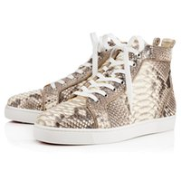 animal applique patterns - 36 Autumn Top Brand Mens Red bottoms Casual Shoes Lous Men s Flat Python Light red sole sneakers Genuine Leather Fish scale pattern