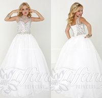 Wholesale 2016 White Princess Girls Pageant Dresses Jewel Neck Glitz Crystal Rhinestone for Flower Kids Prom Party Skirt Tulle A Line Teens