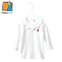 Wholesale Girl s Strawberry Embroidered Flower Collar Shirt Solid White Cotton Long Sleeve T shirt Casual Preppy Style Kids Wear YAKUYIYI