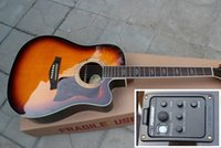 Wholesale Hot Sale Custom Shop Sunburst Cutaway With Fishman strings Acoustic Electric Guitar