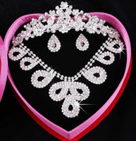 best selling jewellery - Best Selling Crystal Crown tiaras Crystal Earbob Crystal Necklace Three piece full set Wedding Jewellery Bridal dresses Bridal Accessories