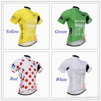 Wholesale 2015 Tour De France Cycling Jerseys Short Sleeve High Elastic Road Bicycle Wear Ultra Breathable Yellow Green Red White Men Cycling Tops