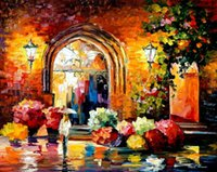 art knife gallery - Leonid Afremov PALETTE KNIFE art home decorative abstract oil painting on canvas Gallery In The Old City x36inch Unframed