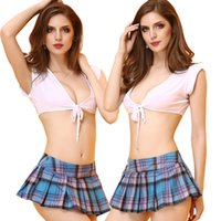 Wholesale Royal Academy School Uniform Costumes Fantasy Crop Top Blue Pleated Skirts Two Pieces Sexy Set Student Cosplay Uniform Sexy Lingerie
