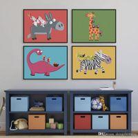 animals drawings - Modern Play Animals Drawings Kids Room Abstract Decoration Wall Art Kawaii Dinosaur Giraffe Poster Prints Canvas Paintings Gifts