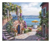 art terrace - Tuscan Terrace Pure Hand Painted Scenery Art Oil Painting On High quality Canvas any customized size accepted
