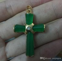 beautiful gold pendants - Discount Top Sell Beautiful Green Jade Golden Cross Shape Women s Pendant Necklace Free Chain