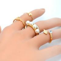 Wholesale 4 set New Trendy Silver Gold Plated Ceystal Imitation Pearl Midi Knuckle Finger Joint Rings women Statement Jewelry DHR066
