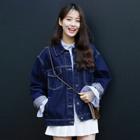 basic denim - harajuku coat women korean new retro autumn style jackets rock winter sweet vintage washed denim jacket women basic coats