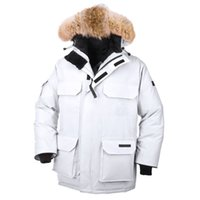 bear winter coat - Canada Down Polar Bears International Expedition Parka Mens Duck Down Thick Warm Coyote Fur Collar Hooded Winter Windproof Outdoor Coat