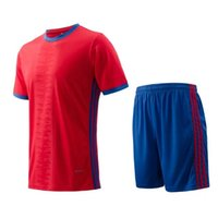 adult football jersey blank - Three stripes Men sportswear Athletic training Red Jogging Clothing jersey and shorts adult running soccer team sets football kits Blank
