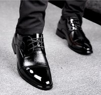 Cheap Business Dress Casual Shoes Spring And Summer Men British Patent Leather Hollow Breathable Lace Shoes Men's Wedding Shoes