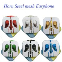 android mesh - Horn Steel Mesh Earphone Earset With Remote Mic Volume Control For IPhone Se s Samsung Android Mobile EAR189