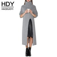 Wholesale HDY Haoduoyi Solid Gray Casual Knitted Pullover Sweater Long Sleeve Turtleneck Loose Longline Sweater Elegant Street Style Sweater Dress